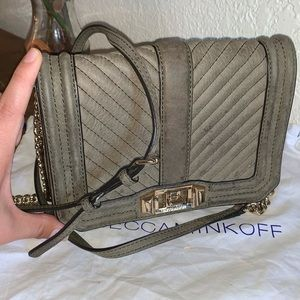 rebecca minkoff chevron small love suede crossbody